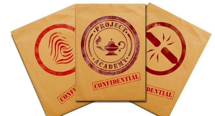 """Three dossier envelopes labelled """"Project Academy"""" and marked """"Confidential"""""""